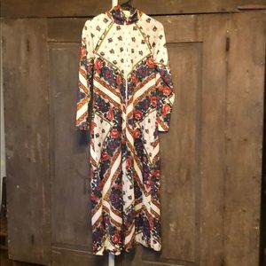 Vintage floral 3/4 zip house dress